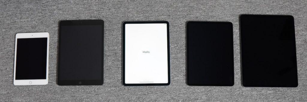 Die aktuellen iPads von Apple auf einem Bild (von links): iPad Mini, iPad, iPad Air, iPad Pro 11 Zoll und iPad Pro 12,9 Zoll.